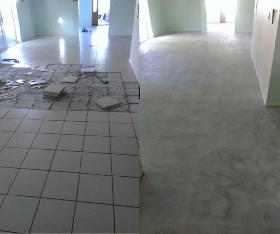 Glue And Epoxy Removal From Concrete Floor After The Tiles Are Removed: Tile Removal And Floor Preparation Specialists Brisbane